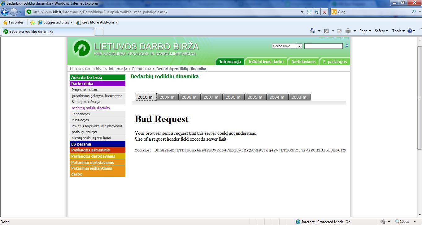 Bad Request - LDB - bedarbių rodikliai